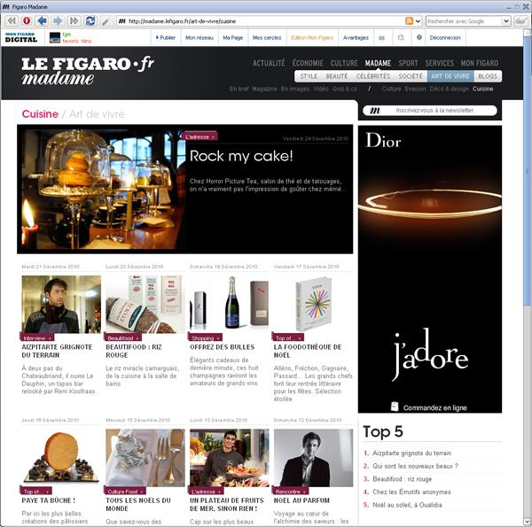 Madame Figaro, rubrique Art de vivre / Cuisine